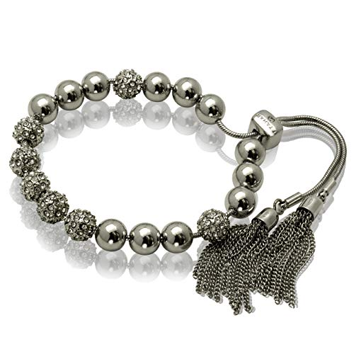 T Tahari Silver Slider Bracelet with Crystals and Chain Tassel Accents