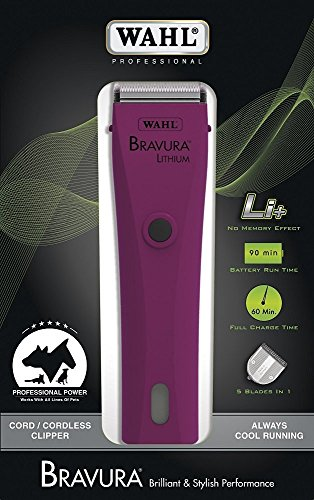 Wahl Professional Animal Bravura Lithium Powerful Motor Cord/Cordless Pet Clipper Kit (Berry) with Blade Brush