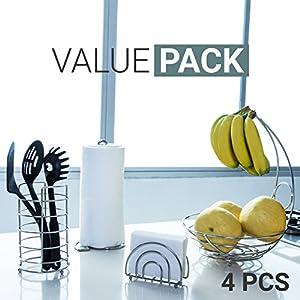 Kitchen Set 4pc | Fruit Basket / Banana Holder, Utensil Holder, Napkin Holder & Paper Towel Dispenser - Double Coated Chrome Finish Modern Accessories Collection for Countertop Table Decor | Heat Resistant Tool