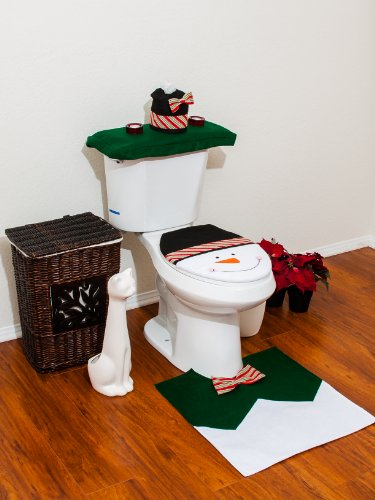 4 Pcs Christmas Santa Bathroom Toilet Seat Cover And Rug