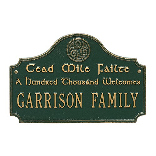 Personalized Indoor/Outdoor Irish Family Name Cead Mile Failte, A Thousand Welcomes Plaque Sign (Green Gold) Cast Aluminum Sign Letters