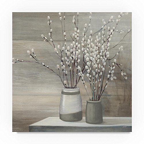 Trademark Fine Art Julia Purinton Pussy Willow Still Life Gray Pots Crop, 18x18-Inch