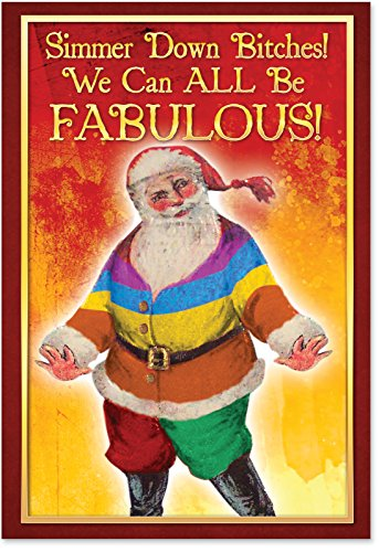 12 'Simmer Down Bitches Boxed Christmas' Funny Note Cards w/Envelopes 4.63 x 6.75 inch, Hilarious Holiday Greeting Cards with Gay Pride Santa Claus, Stationery Set for Gifts, Gags and Humor B1242 - Gay Pride Note Cards