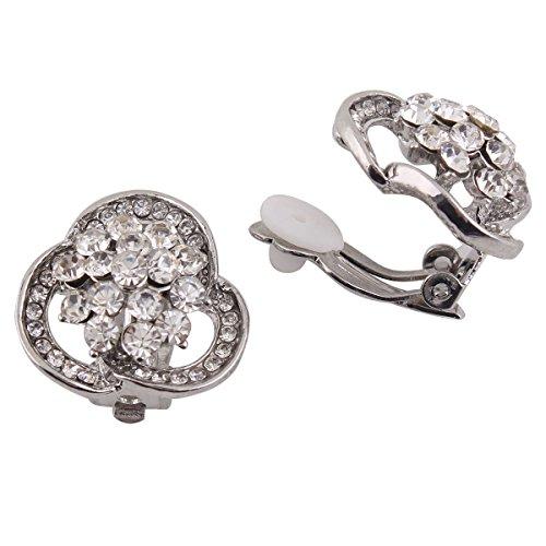 (Grace Jun Bridal Earrings Rhinestone Flower Shape Clip on Earrings Non Piercing for Women (silver plated))