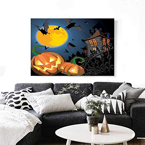 Warm Family Halloween Modern Canvas Painting Wall Art Gothic Halloween Haunted House Party Theme Design Trick or Treat for Kids Print Art Stickers 32