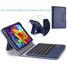 MoKo Wireless Bluetooth Keyboard Cover Case for Samsung GALAXY Tab 4 8.0 inch, Indigo