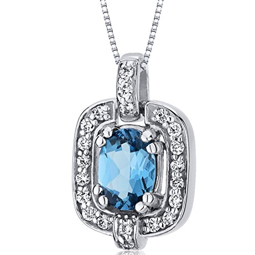 (Swiss Blue Topaz Pendant Necklace Sterling Silver Rhodium Nickel Finish Oval Cut CZ Accent)