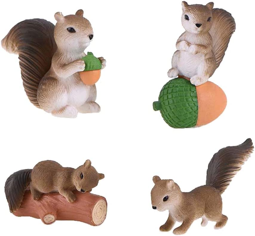HanYoer 4 pcs Cute Squirrel Animal Characters Toys Figurines Playset, Garden Cake Decoration, Cake Topper