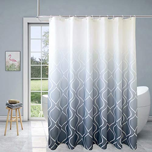 Xikaywnt Fabric Textured Moroccan Ombre Shower Curtain for Bathroom - Waterproof Bathroom Curtain with 12 Hooks