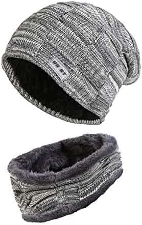 f74208628d0 Fleece Lined Beanie Hat Scarf Sets Mens   Womens 2-Pieces Winter Wool Warm  Knit