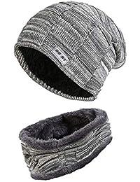 Fleece Lined Beanie Hat Scarf Sets Mens   Womens 2-Pieces Winter Wool Warm  Knit f8ffc225d310