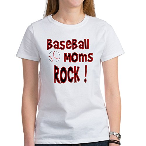 CafePress Baseball Moms Rock ! Women's T-Shirt - Womens Cotton T-Shirt, Crew Neck, Comfortable & Soft Classic Tee (Baseball Moms Rock)