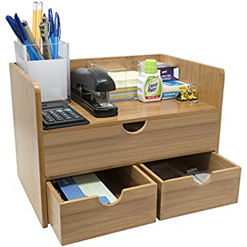 office desk with storage. Brilliant With Sorbus 3Tier Bamboo Shelf Organizer For Desk With Drawers U2014 Mini  Storage On Office With