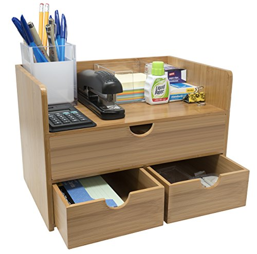 Sorbus 3-Tier Bamboo Shelf Organizer for Desk with Drawers - Mini Desk Storage for Office Supplies, Toiletries, Crafts, etc - Great for Desk, Vanity, Tabletop in Home or Office