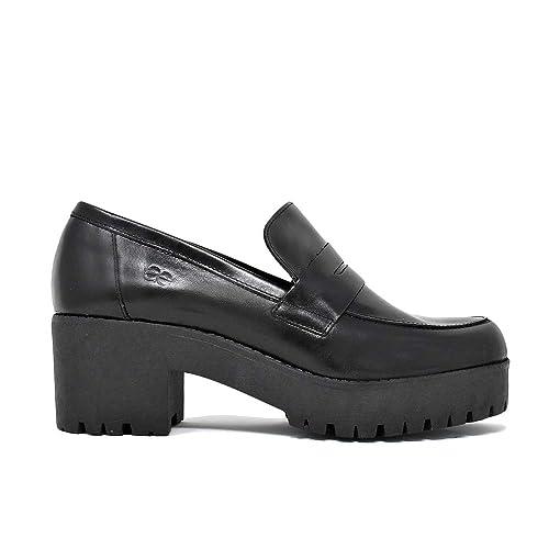 Mocasin Plataforma Antifaz En Piel Negro: Amazon.es: Zapatos y complementos
