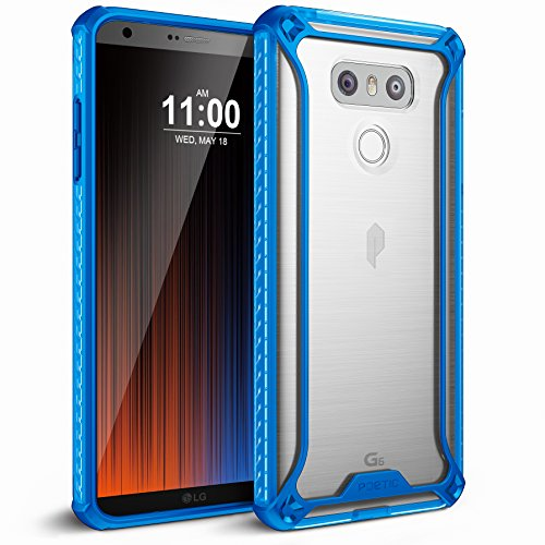Poetic Affinity Slim Fit for LG G6 Clear Case with Anti-Slip Side Grip and Reinforced Corner Protection Bumper for for LG G6 Blue/Clear