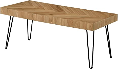 Amazon Com Lgc Modern Coffee Table Easy Assembly Tea Table Cocktail Table For Living Room W Chevron Pattern Metal Hairpin Legs Glossy Finished Wood Kitchen Dining