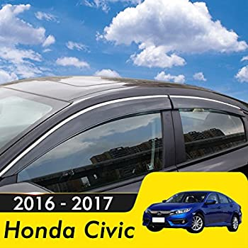 biosp Compatible for 2016 2017 Honda Civic Visor Rain Sun Deflectors Car Window Ventvisor Shade Wind Deflector