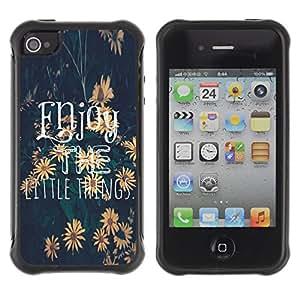 KROKK CASE Apple Iphone 4 / 4S - enjoy the little things sunflower text - Funda Carcasa Bumper con Absorción de Impactos y Anti-Arañazos Espalda Slim Rugged Armor