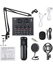 Douself Live Sound Card Microphone Set Voice Changer Multifunctional USB Audio Interface Intelligent Volume Mic External Sound Card for Live Broadcast