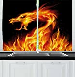 Ambesonne Dragon Kitchen Curtains, Abstract Fiery Creature on Black Background Legendary Fantastic Asian Illustration, Window Drapes 2 Panel Set for Kitchen Cafe, 55 W X 39 L Inches, Orange Black Review
