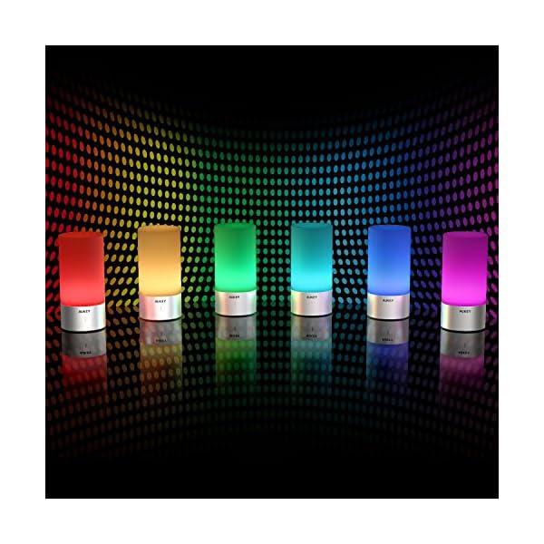 AUKEY Lámpara de Mesa, Regulable Lámpara de Noche de Atmósfera con Sensor de Tacto, Lámpara de Tabla de Decoración con Modo RGB y Luz Blanca Caliente, 256 Luces de Color look4deco Blog Decoracion
