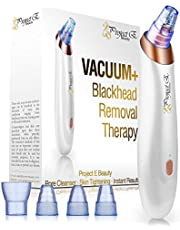 Project E Beauty Vacuum+ Blackhead Removal Therapy | Ultrastrong Suction Facial Acne Whitehead Pimple Pore Nose Skin Peeling Shrink Pores Tightening Extractor Cleanser Device USB 5 Treatment Heads