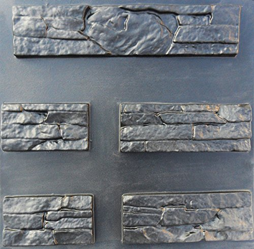 Plastic Mold Form for Wall 10 pcs Tile EAST Stone Mold Wall Stone, Cement, Gypsum or Concrete Art Decor Pixus-ua