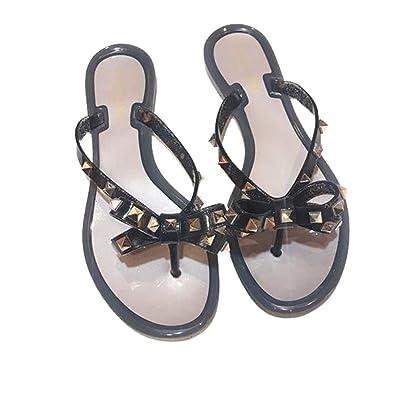 1584cee99c271 Womens Valentino PVC Jelly Rockstud Bow Thong Flip Flop Sandals (36 EU)  Beige