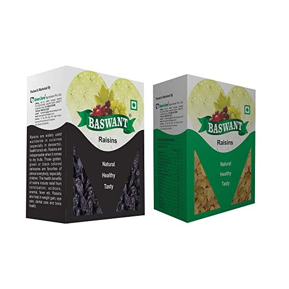 BASWANT Jumbo Black Seedless Raisins, 1 kg and Green Seedless Raisin (1 kg, Total 2 kg)