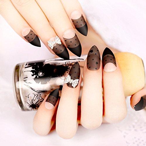 Amazon.com: 24 pcs gris francés uñas artificiales esmerilado ...
