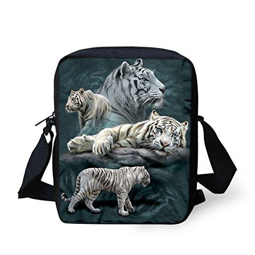 (HUGS IDEA Tiger Pattern Small Cross Body Bag Shoulder Handbag Trave Wallet Purse Phone Pouch for Kis Boys)