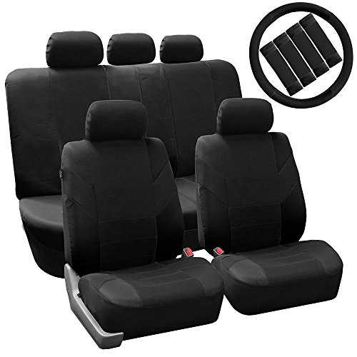 FH GROUP FH-FB072115 Flat Cloth Auto Seat Covers Steering Wheel Cover & Seatbelt Pads Airbag & Split Ready, Black Color - Fit Most Car, Truck, Suv, or Van
