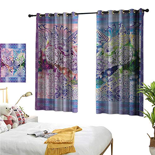 RuppertTextile Blackout Curtains Two Myhtical Horses Facing Each Other Floral Ornament Framework Birds Spring Nature 72