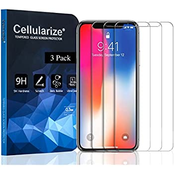 Cellularize iPhone X Screen Protector Tempered Glass [LIFETIME REPLACEMENT WARRANTY] [CASE FRIENDLY] [ANTI-SCRATCH] [BUBBLE-FREE] [ULTRA-CLEAR] (3-Pack)