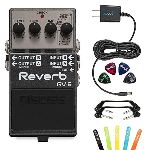 Boss RV-6 Digital Reverb Mono or Stereo Pedal -INCLUDES- Blucoil Power Supply Slim AC/DC Adapter for 9 Volt DC 670mA, 4 Pack of Guitar Picks AND 2 Hosa 6-inch Molded Right-Angle Patch Cables by blucoil
