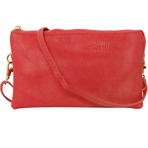 Humble Chic Vegan Leather Small Crossbody Bag or Wristlet Clutch Purse, Includes Adjustable Shoulder and Wrist Straps, Coral, Orange Pink