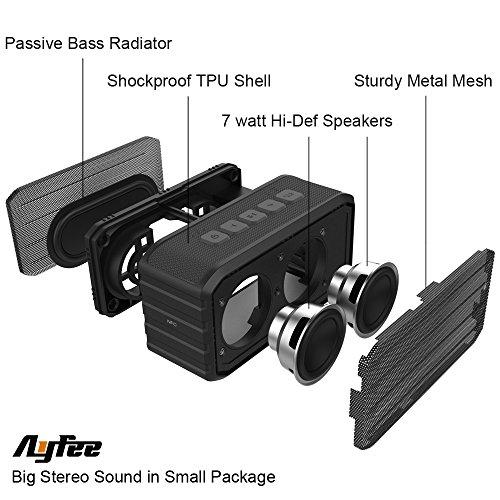 [Bluetooth Waterproof Speakers] Ayfee Wireless Bluetooth 4.0 Waterproof Outdoor / Shower Speaker, with 7W Powerful Drive & Bass Enhance Radiator (Black)