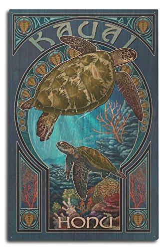 (Lantern Press Kauai, Hawaii - Sea Turtle Art Nouveau (10x15 Wood Wall Sign, Wall Decor Ready to Hang))