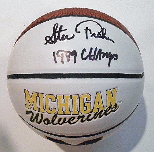 Steve-Fisher-Signed-Logo-Basketball-wJSA-COA-Michigan-Wolverines-P26577-Autographed-College-Basketballs