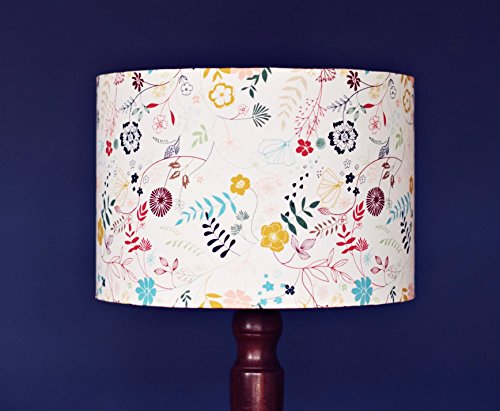 Floral lampshade, White lampshade, luminous field lampshade, Flower lamp, Floral lamp shade, Country lamps, Drum lampshade, table - Study Fabric Field
