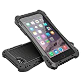 Iphone 6s case, Feitenn Water resistant Armor Aluminum Metal Carbon Fiber Gorilla Glass Heavy Duty Shockproof Protection Case for iphone 6/Iphone 6s (Black/black)