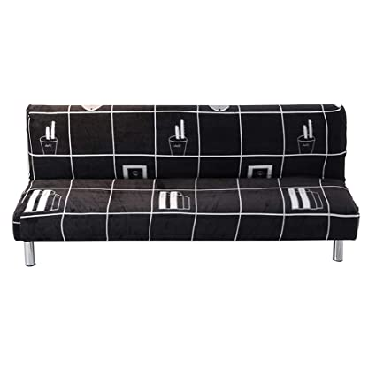 SHZONS Plush Sofa Cover, Solid Color Plush Thicker Folding Anti-Slip Armless Sofa Futon Cover for Patio Couch Bench (L, A)