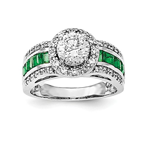 ICE CARATS 925 Sterling Silver Cubic Zirconia Cz Lab Created Green Emerald Band Ring Size 6.00 Gemstone Fine Jewelry Gift Set For Women (Lab Created Emerald Stone)