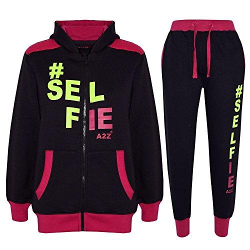 Kids Tracksuit Boys Girls Designer's #Selfie Jogging Suit Top Hoodie Bottom 7-13