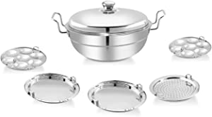 CASSAFLIP Premium Heavy Duty All-in-One Stainless Steel Idli Cooker Multi Kadai Steamer with Induction Bottom Pot Set Includes, Big Size with 5 Plate (2 Idli, 2 Dhokla, 1Patra, Silver)