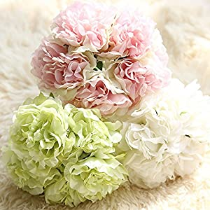 Artificial Flower Bouquet 5 Heads Silk Peony Bride Holding Flowers Wedding Bouquet Home Room Decoration Party Garden Decorative Anniversary Mother Day Valentines Day Holiday Gift 6