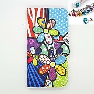 patrón de flores del arte de la PU cuero caso de cuerpo completo con ranura para tarjeta y se quede con el enchufe a prueba de polvo para el iphone 6
