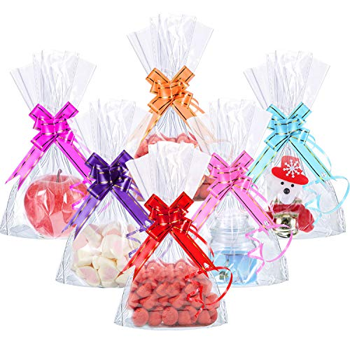 Hestya 50 Counts 15 x 25 cm Clear Flat Cello Cellophane Treat Bags Cellophane Block Bottom Storage Bags Sweet/Party/Gift/Home Bags with Colorful Bag Ties (Style A)