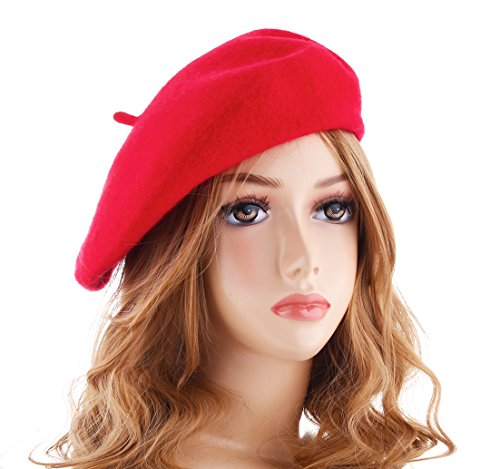 Wheebo Wool Beret Hat,Solid Color French Style Winter Warm Cap For Women Girls(Red)
